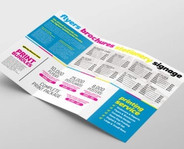 Print Shop Trifold Brochure Template Inside