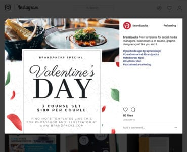 Valentine's Day Instagram Template in PSD & Vector