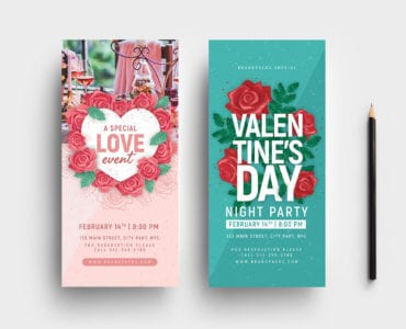 Valentine's Day DL Rack Card Template