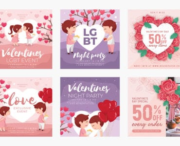 Valentine's Day Instagram Templates for Photoshop & Illustrator