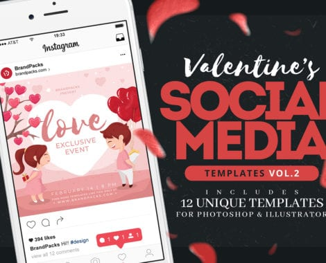 Valentine's Day Instagram Templates in PSD, Ai & Vector