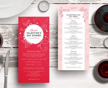 DL Valentines Menu Rack Card