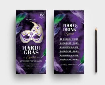 Mardi Gras DL Rack Card Template