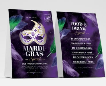 Mardi Gras Table Tent Template