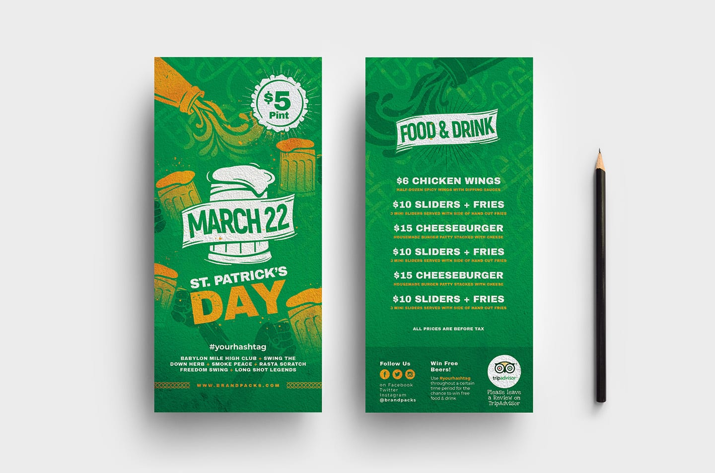 St. Patrick's Day DL Rack Card Templates