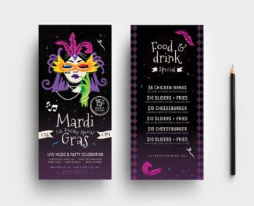 Traditional Mardi Gras DL Card Templates
