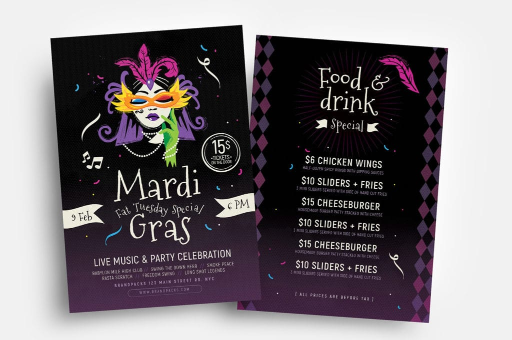 Traditional Mardi Gras Flyer Templates