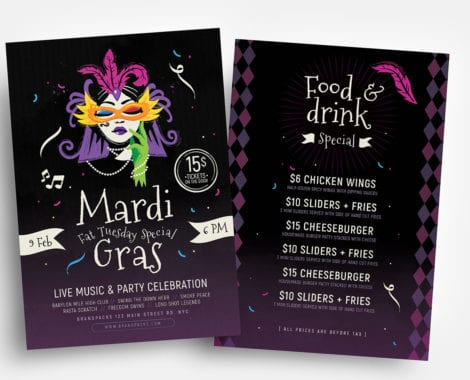 Traditional Mardi Gras Flyer Templates