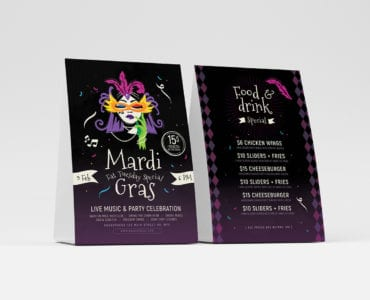 Traditional Mardi Gras Table Tent Template