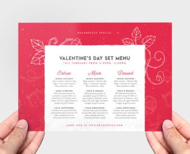 Valentines Day Menu Flyer Template