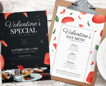 Valentines Day Menu Poster Template