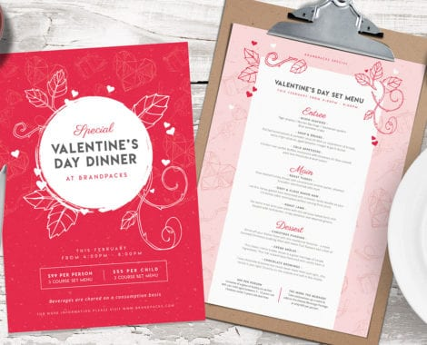 Valentines Day Menu Template