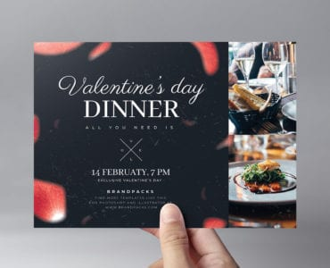 Valentines Day Restaurant Flyer Template