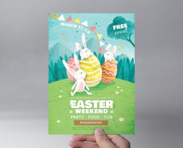Easter Flyer Template in Vector & PSD