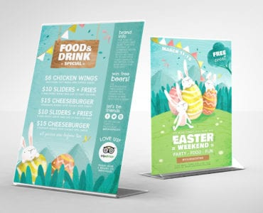 Easter Table Tent Templates in Vector & PSD