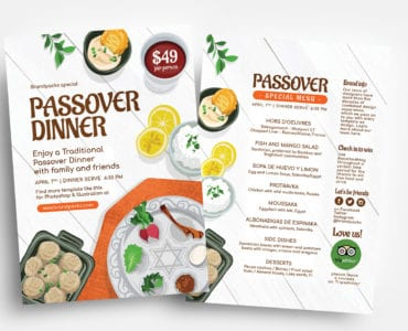 Passover Menu Flyer Templates
