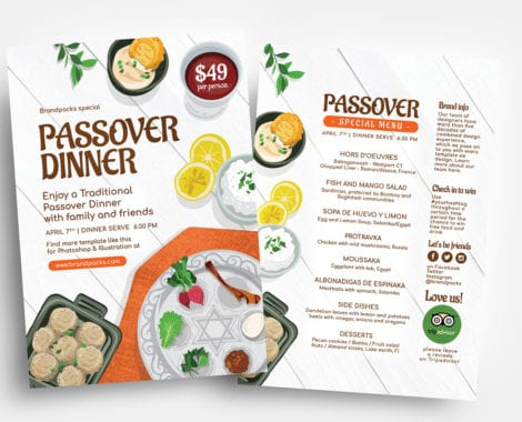 Passover Menu Flyer Templates