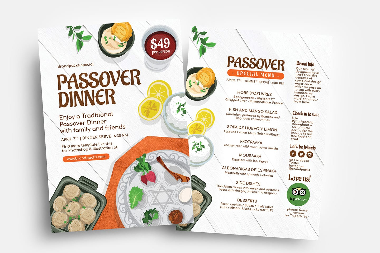Passover Menu Flyer Templates Vol 2 Psd Ai Vector Brandpacks