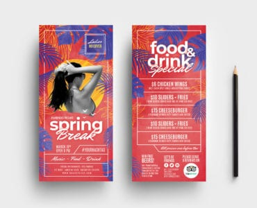 Spring Break DL Rack Card Templates
