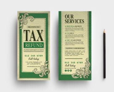 Tax Refund DL Rack Card Templates