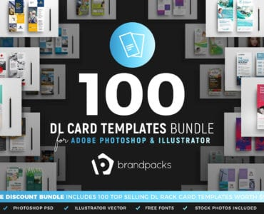 100 DL Rack Card Templates - PSD & Vector