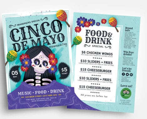 Cinco De Mayo Flyer Templates Vector/PSD