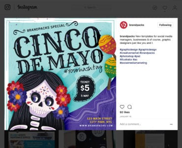 Cinco De Mayo Instagram Banner Template PSD/Vector