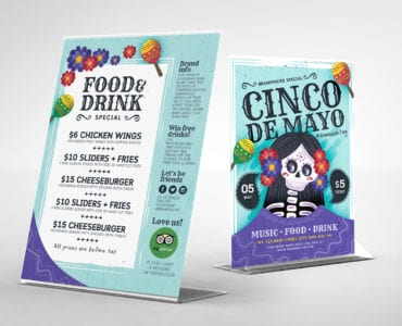 Cinco De Mayo Table Tent Template Vector/PSD