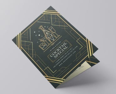 A3 Bi-Fold Art Deco Menu Template (Front)