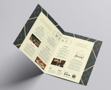 A3 Bi-Fold Art Deco Menu Template (Inside)