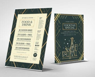 Art Deco Bar Menu Templates