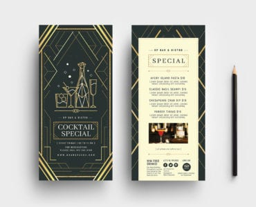 Art Deco DL Menu Rack Card Template