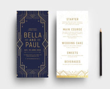 Art Deco Invitation DL Card Templates