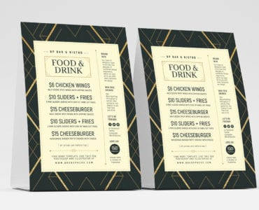 Art Deco Menu Table Tent Templates