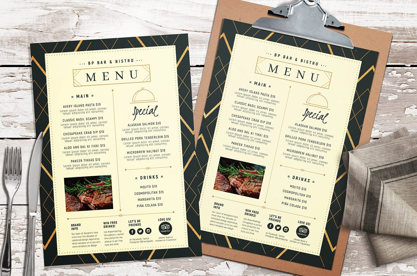 Art Deco Menu Templates
