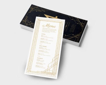 Art Deco Wedding DL Menu Template