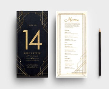 Art Deco Wedding DL Menu Templates