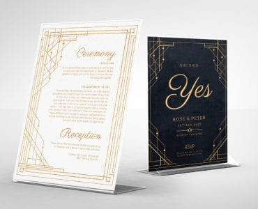 Art Deco Wedding Flyer / Table Tent Templates