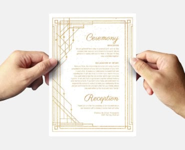 Art Deco Wedding Invitation Flyer Template Back