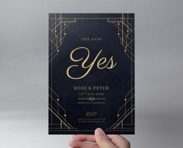Art Deco Wedding Invitation Flyer Template