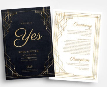 Art Deco Wedding Invitation Flyer Templates