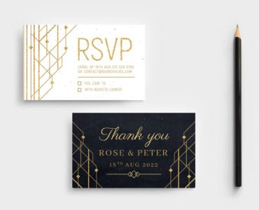 Art Deco Wedding RSVP Card Template