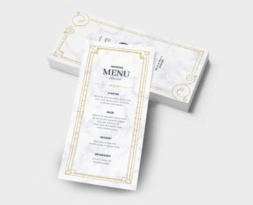 DL Wedding Menu Template Back