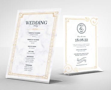 Wedding Postcard Table Tent Templates