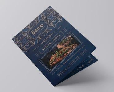 A3 Bi-Fold Art Deco Menu Template (front)