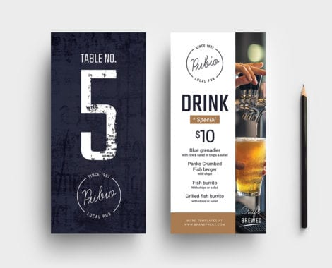 Bar DL Rack Card Template