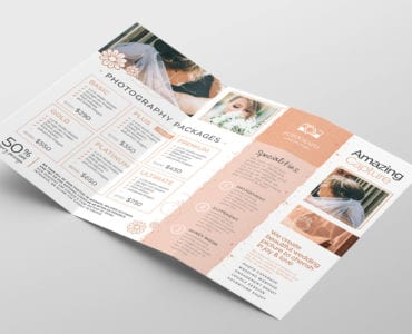 Photography Service Tri-Fold Brochure Template (Inside)