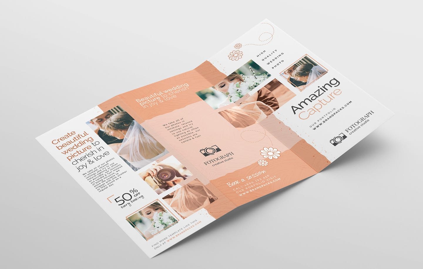 photography service tri-fold brochure template