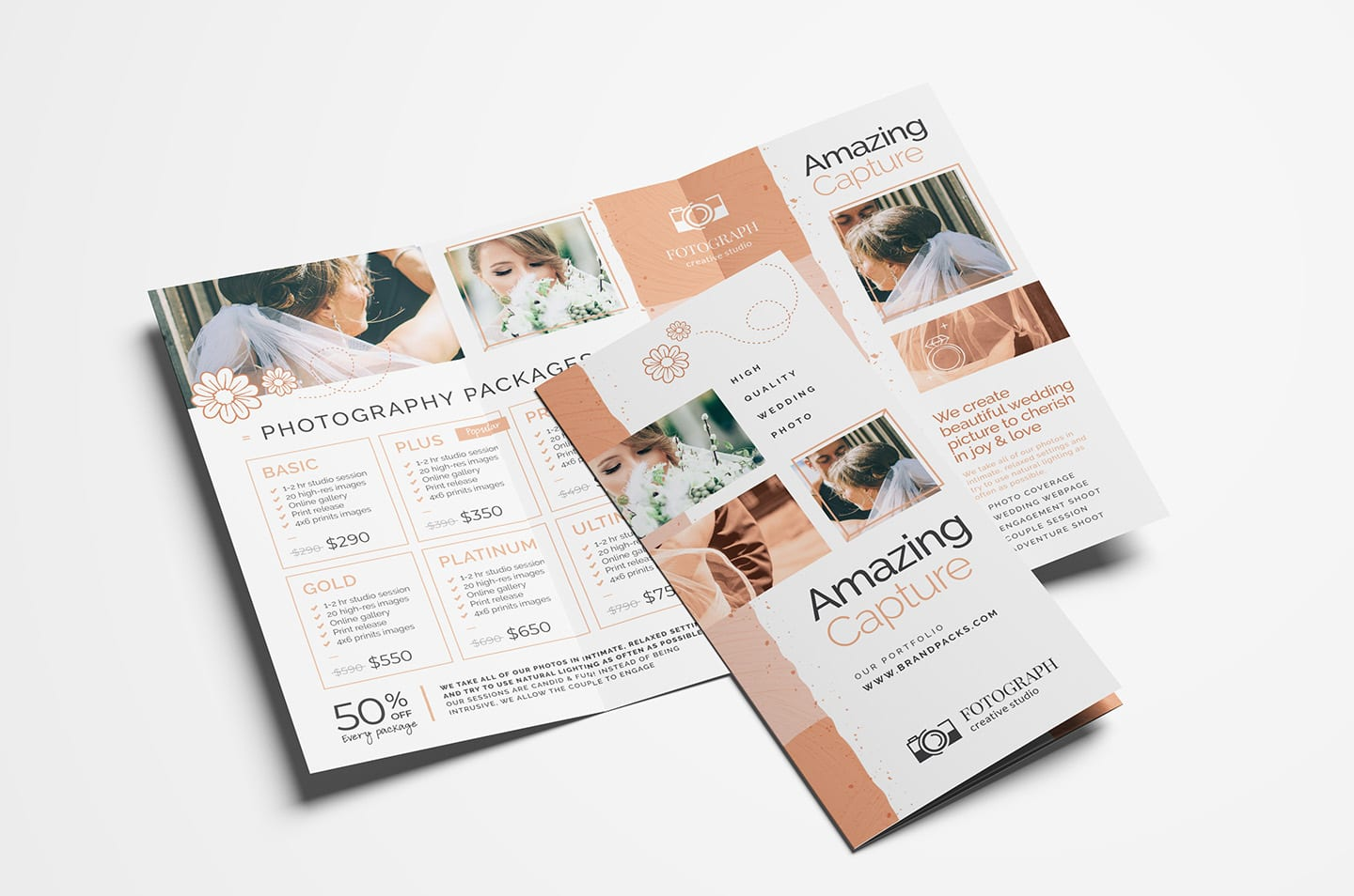Photography Service Tri Fold Brochure Template Psd Vector