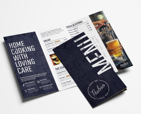 Tri-Fold Bar Menu Template